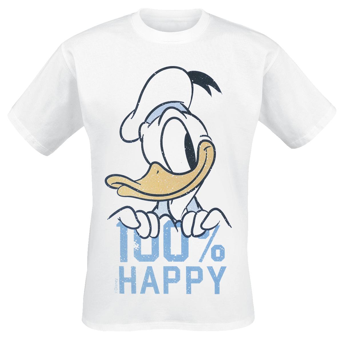 Donald Duck - 100% Happy - T-Shirt - weiß