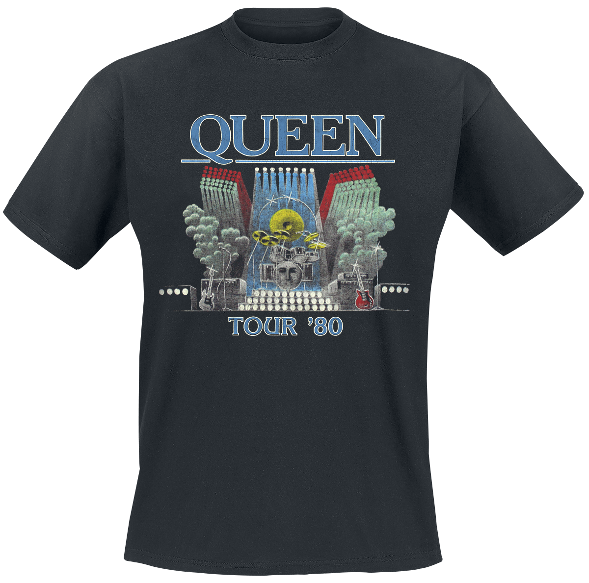 Queen - Tour '80 - T-Shirt - schwarz