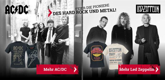 Exklusives Merchandise von AC/DC und Led Zeppelin