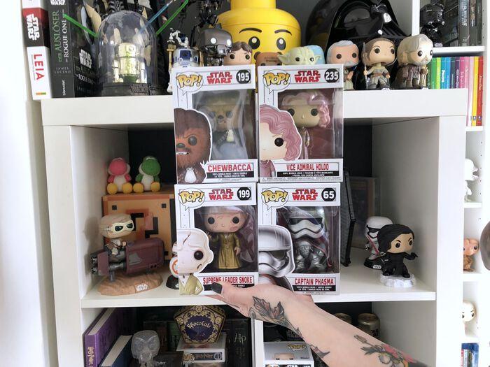 Funkotastic: Admiral Holdo, Chewbacca mit Porg, Captain Phasma und Snoke
