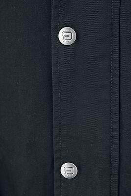 Schwarze Übergangsjacke mit Labeldetails