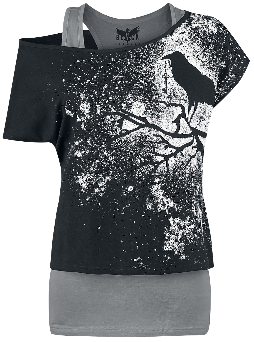 Black Premium by EMP - When The Heart Rules The Mind - Girls shirt - grey-black image