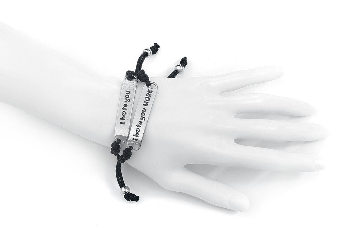 Image of Blackheart I Hate You Armband-Set schwarz/silber
