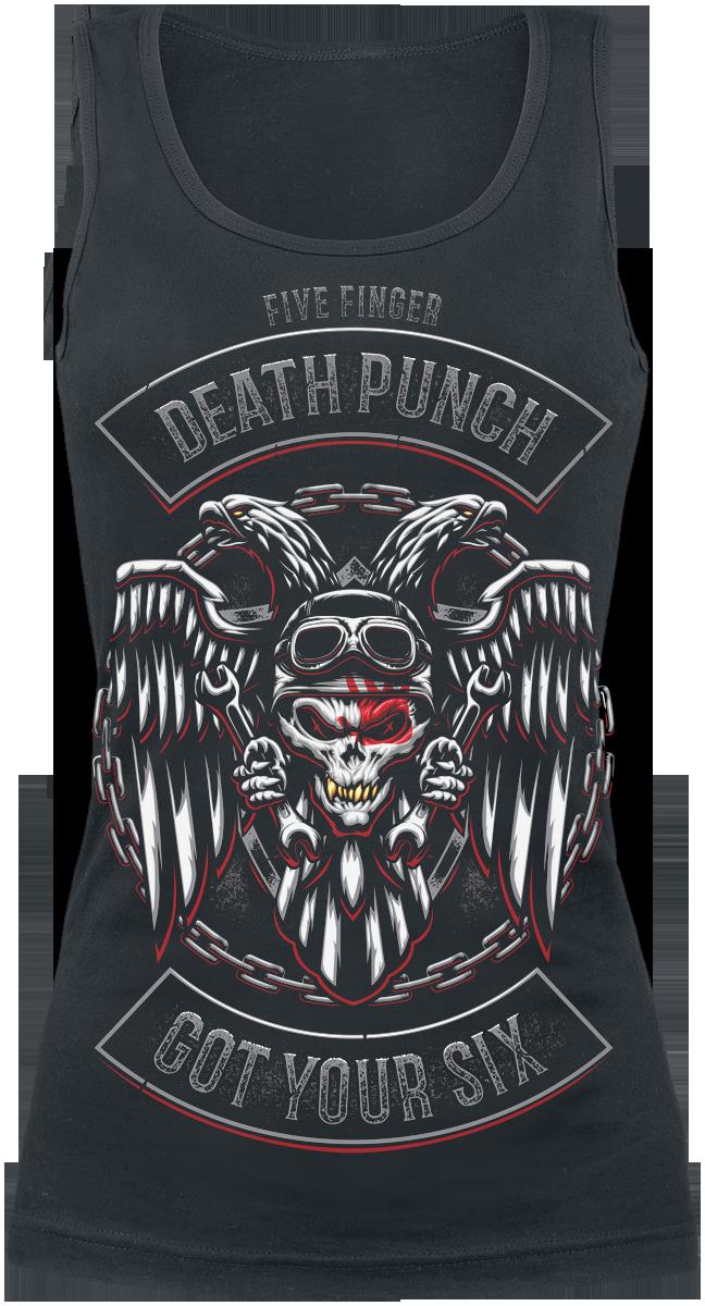Five Finger Death Punch - Biker Badge - Girls Top - black image