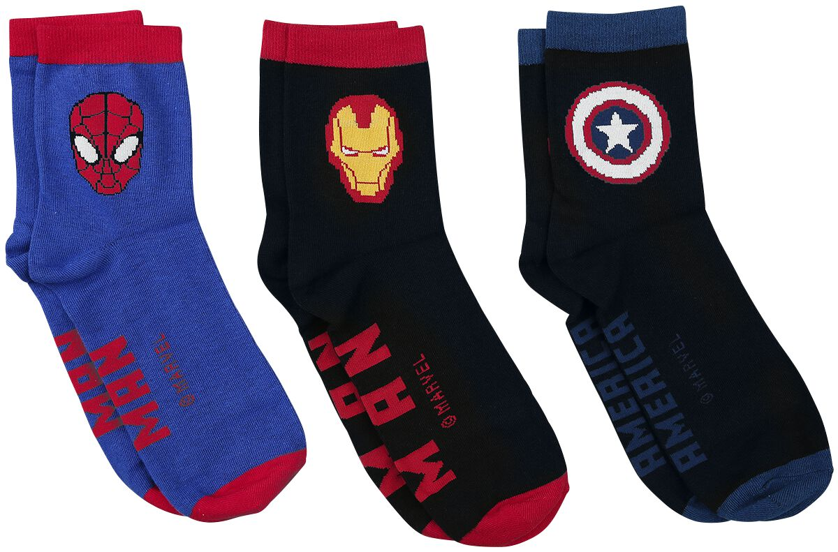 Image of Avengers Captain America - Iron Man - Spider-Man Socken multicolour