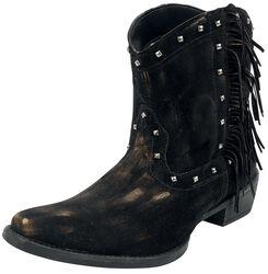 Dunkelbraune Cowboy-Boots mit Fransen und Nieten