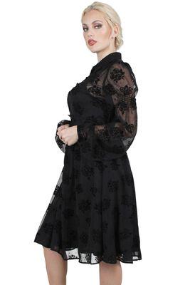Blanca Chiffon Rose Flocking Dress