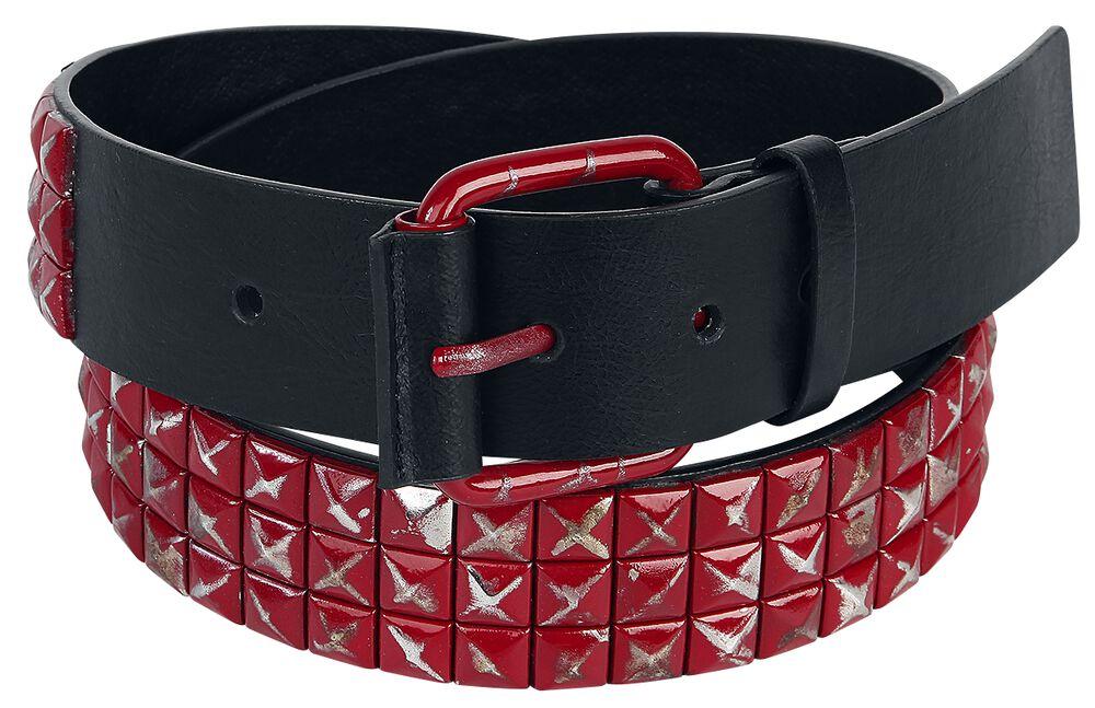 Gürtel mit roten Nieten Black Premium
