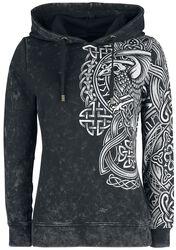 Anthrazitfarbener Kapuzenpullover mit keltisch anmutendem Print
