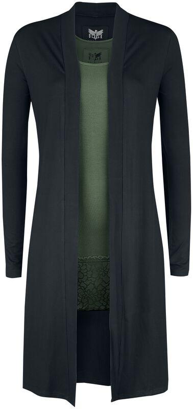 langer schwarzer Cardigan und grünes Top Black Premium