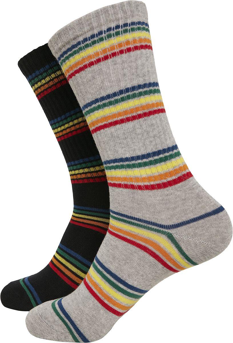 Socken - Urban Classics Rainbow Stripes Socks 2er Pack Socken multicolor  - Onlineshop EMP