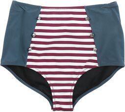 Dreifarbige High Waist Bikinihose mit Streifen und Knöpfen