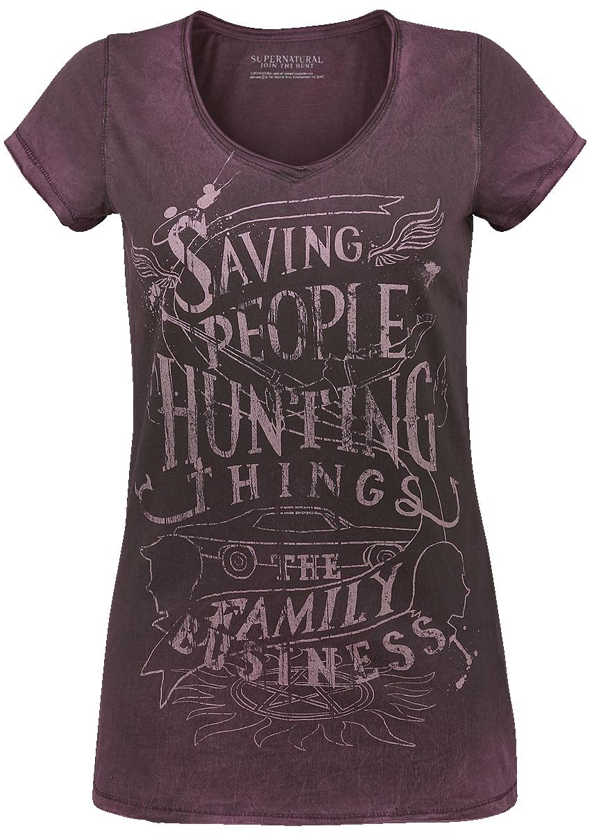 Supernatural - Saving People Hunting Things - Girls shirt - burgundy image