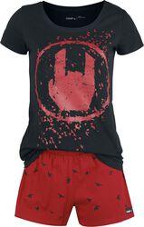 Schwarz/roter Pyjama mit Rockhand-Print