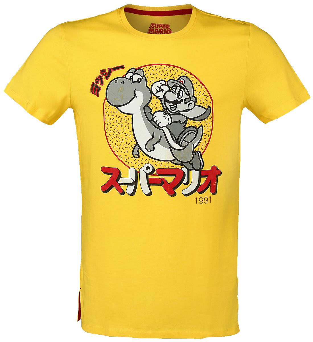 Super Mario - Mario & Yoshi - Japanese - T-Shirt - yellow image