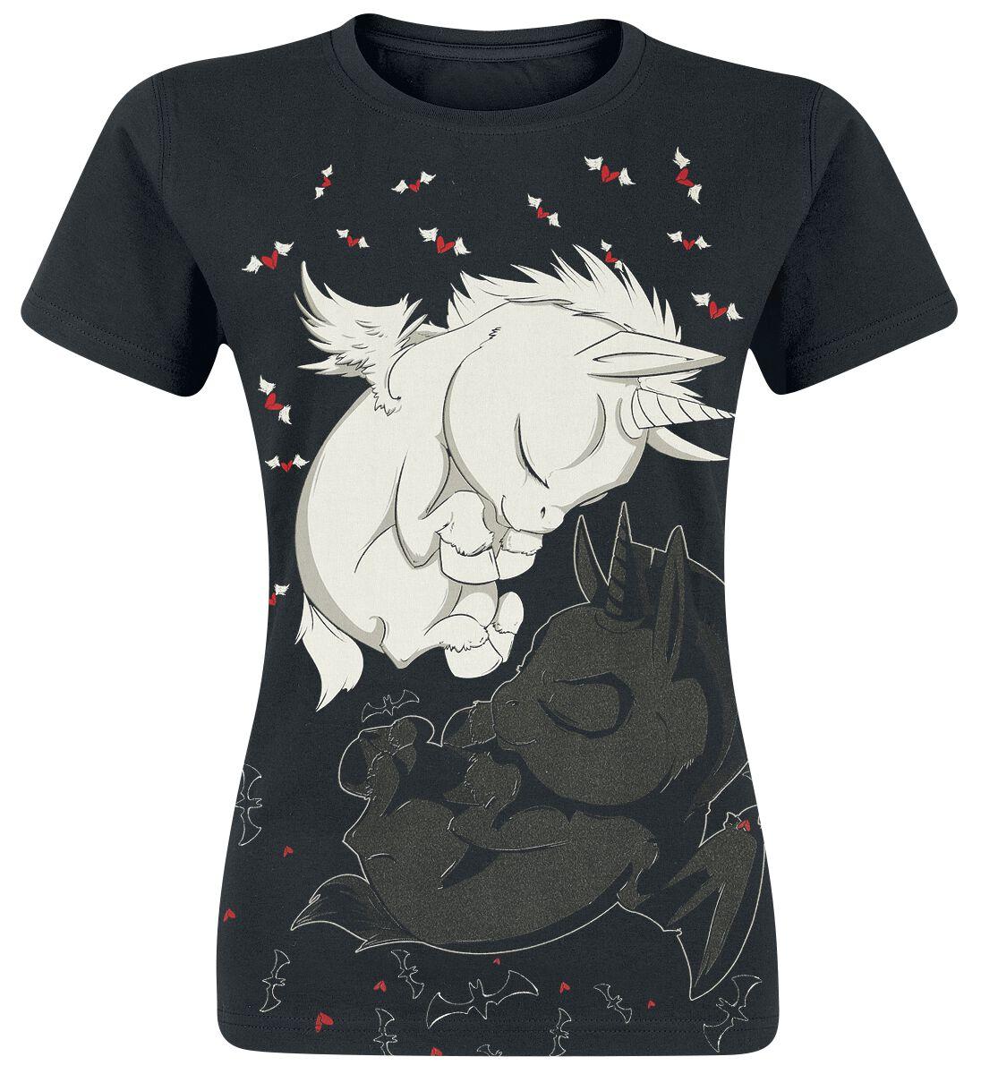 Einhorn Träumende Einhörner T-Shirt schwarz Unicorn Dream T
