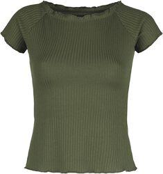 Grünes Ripp T-Shirt mit weitem Ausschnitt