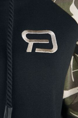 Schwarzes Kapuzenkleid mit Print