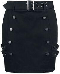 Schwarzer Minirock mit doppelreihiger Knopfleiste und Schnallen