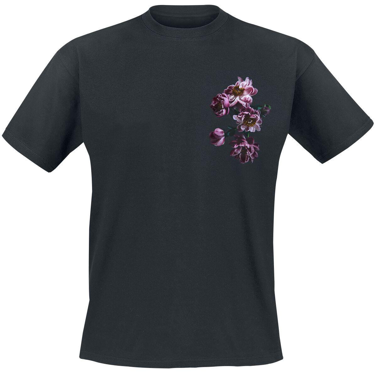 gingercat Pfingstrosen T-Shirt schwarz POD - FOTL Iconic - Pfingstrosen