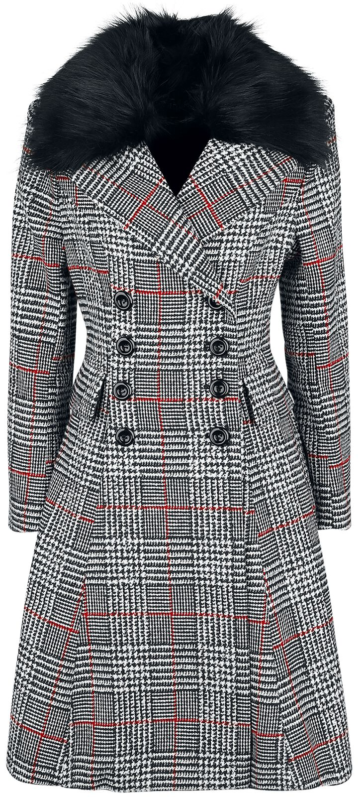 Jacken - Hell Bunny Pascale Coat Mantel schwarz weiß rot  - Onlineshop EMP