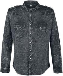 Dunkelgraues Hemd mit Waschung und Schulterklappen