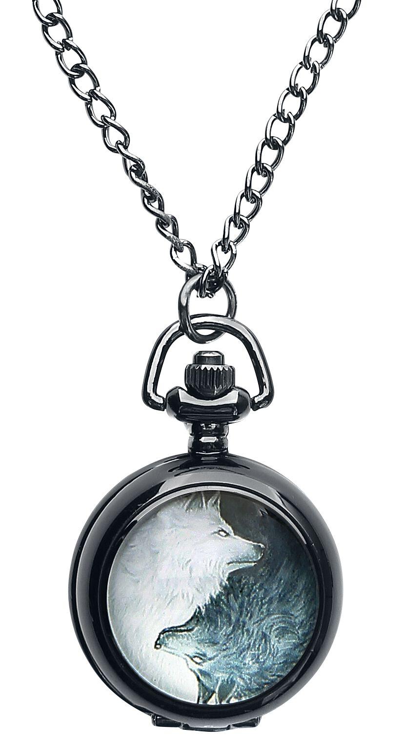 Uhren für Frauen - Mysterium® Wolves Pack Pocket Watch Kettenuhr schwarz  - Onlineshop EMP