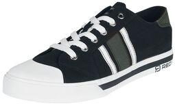 Schwarze sportliche Sneaker mit grünen und weißen Details