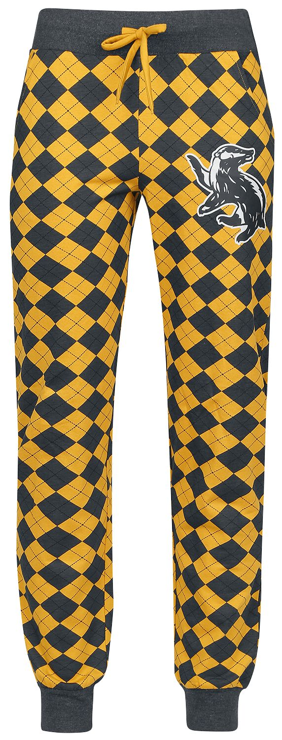 Harry Potter Hufflepuff Pyjama-Hose grau gelb powered by EMP