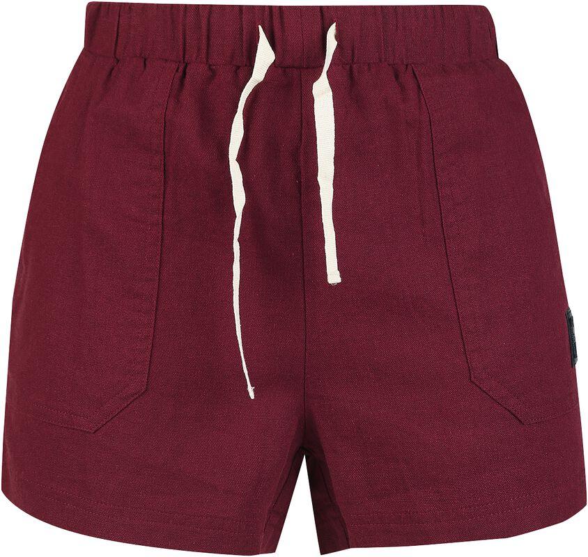Rote kurze Shorts mit Schnürung