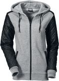Ladies Diamond Leather Imitation Sleeve Zip Hoody