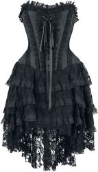 Aufwendiges Gothic Kleid mit Korsage und Vokuhila Rock