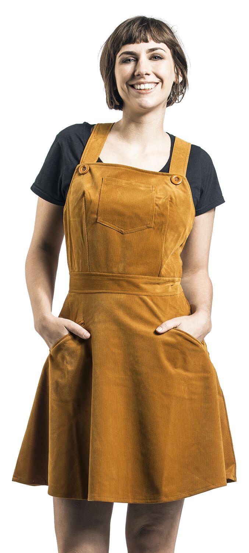 Kleider - Voodoo Vixen Katie Corduroy Overall Dress Kurzes Kleid senfgelb  - Onlineshop EMP
