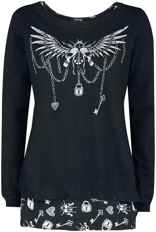 Sweatshirt und Top mit detailreichem Print