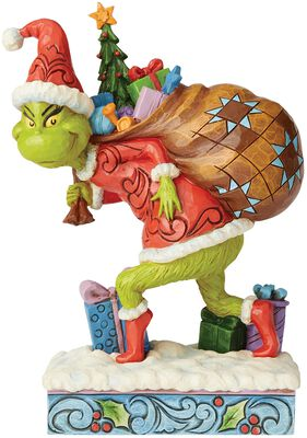 Tip Toeing Grinch with Bag of Gifts Over Shoulder