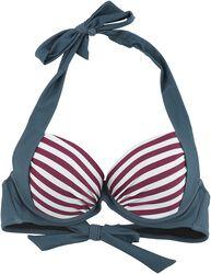 Dreifarbiges Bikinioberteil mit Streifen