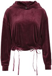 Ladies Short Velvet Gathered Hoody
