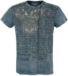 blaues T-Shirt mit Waschung und Print