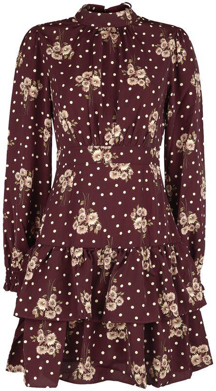 Floral Dot Print Tiered Dress
