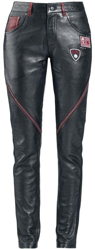Lederhose mit Patches und Reißverschluss Details