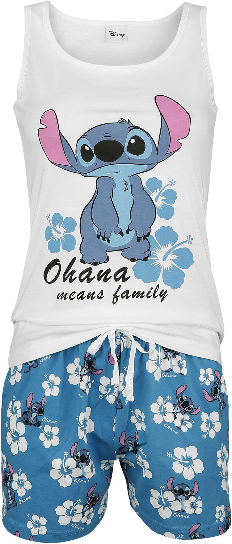 Lilo and Stitch Hawaii Schlafanzug weiß blau 380314