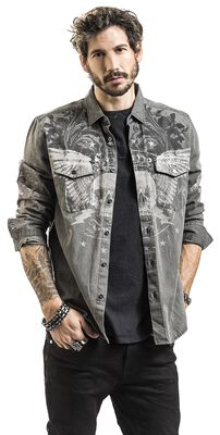 graues Jeanshemd mit Print und Waschung