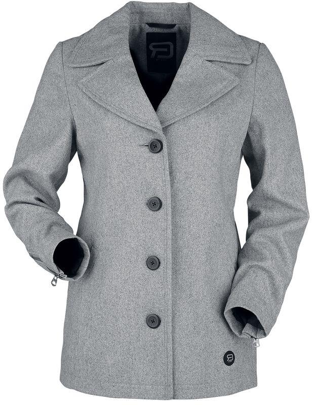 grauer kurzer Mantel zum Knöpfen