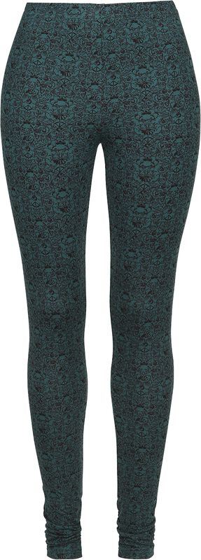 Türkise Leggings mit verschnörkeltem Totenkopf-Muster