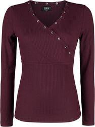 bordeaux farbenes Langarmshirt mit Ösen und V-Ausschnitt