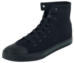 Schwarze Sneaker mit gesticktem Anker und farbigen Details