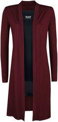 langer roter Cardigan und schwarzes Top Black Premium