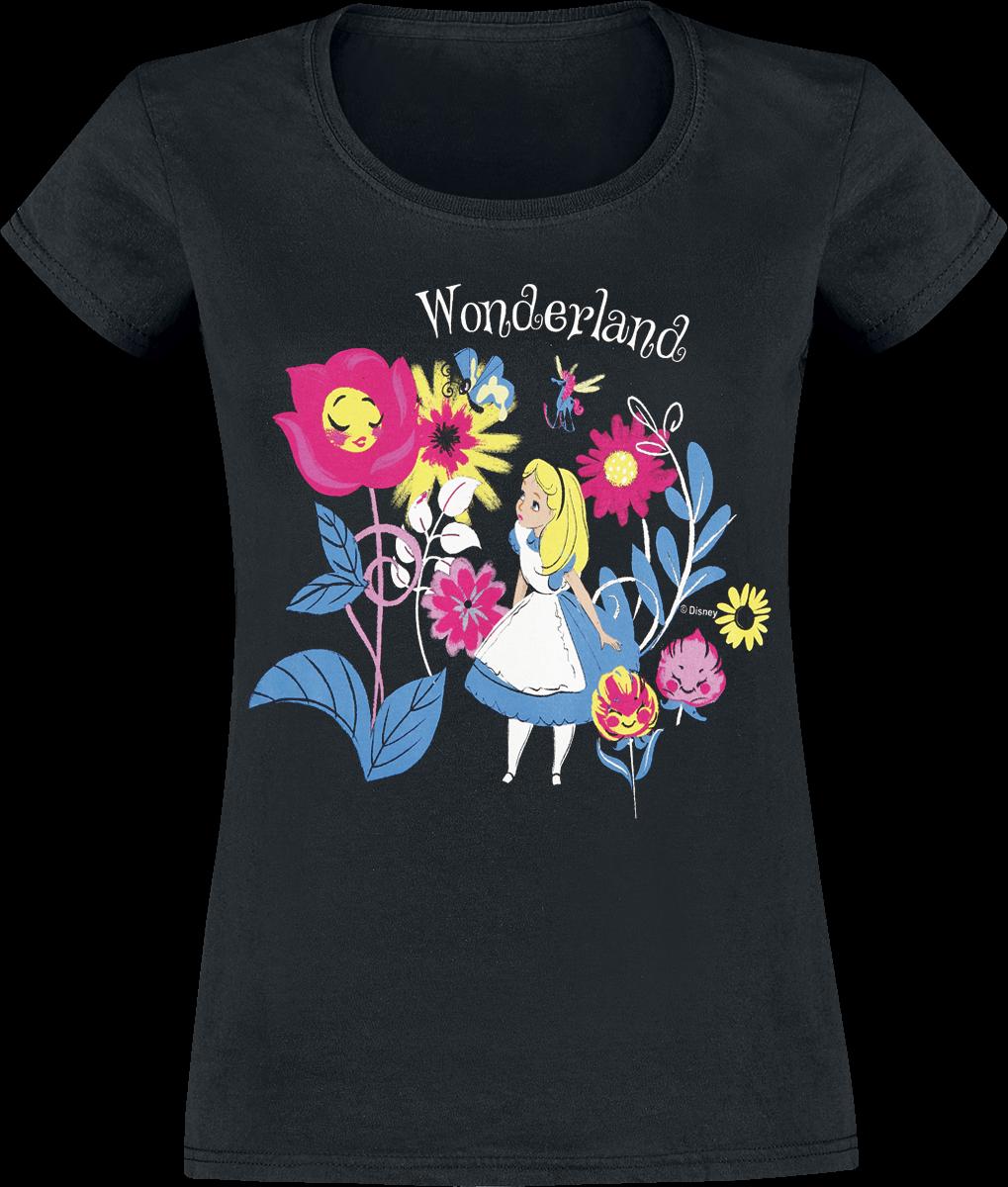 Alice in Wonderland - Butterflies And Flowers - Girls shirt - black image