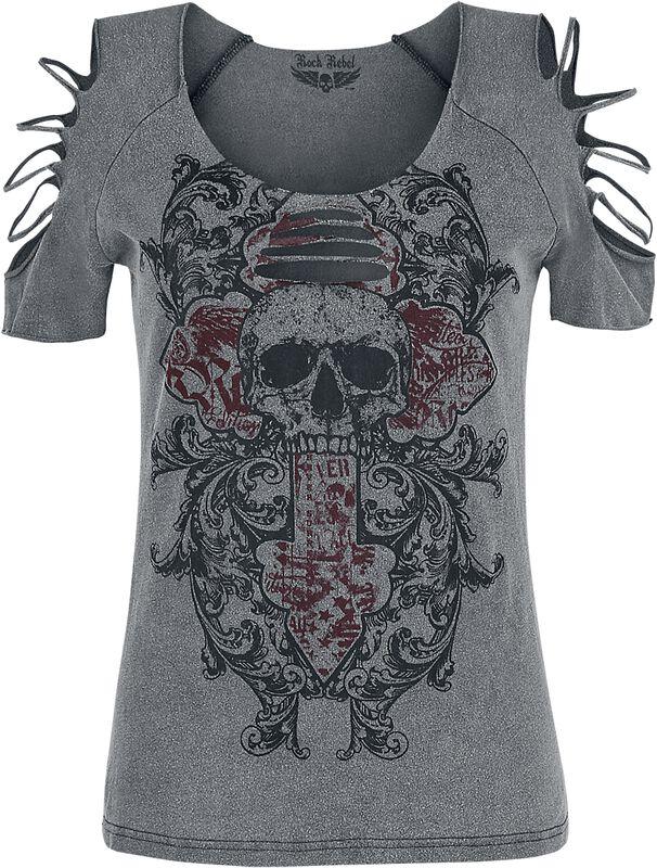 graues T-Shirt mit Waschung und Cut-Outs