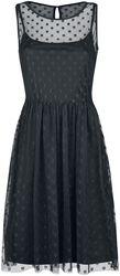 Schwarzes Kleid aus transparentem Pünktchentüll